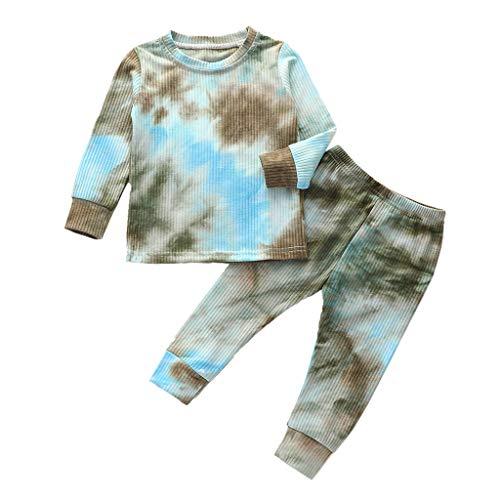 JERFER Kleinkind Baby Mädchen Regenbogen Krawattengefärbt Tops + Hosen Pyjama Nachtwäsche Outfits