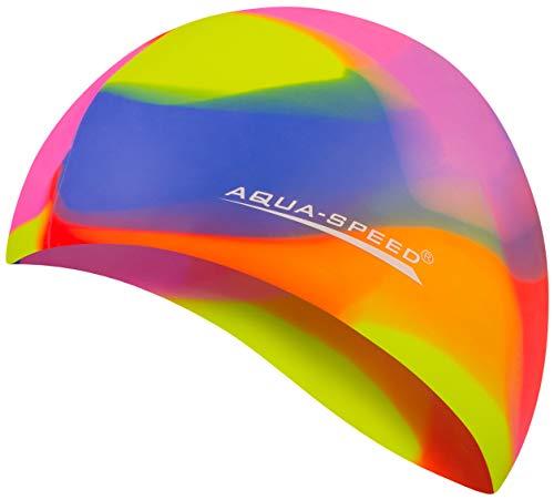 Aqua Speed Badekappe Herren | Silikon | Bademütze | Badehaube | Mehrfarbig + Aufbewahrungstasche Bunt / 75