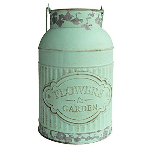 HyFanStr Vase en métal style français rustique shabby chic pour fleurs, petites plantes, décoration de jardin
