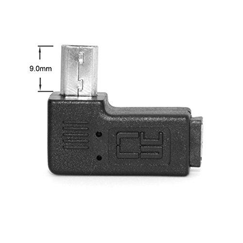 CY 2um 90Grad nach links und rechts abgewinkelte Mcro-USB-Stecker, 5-poliger Stecker-zu-Buchse-Verlängerungsadapter