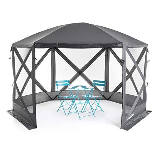 SlumberTrek Flexion Lightweight Outdoor 6 Sided Pop Up Gazebo Canopy Shelter with Mesh Screen Netting, Gray