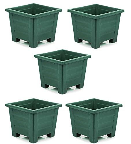 Maceta Cuadrada Plástico, 24x24, Set 5 Unidades, 7 litros, Maceteros (Verde)