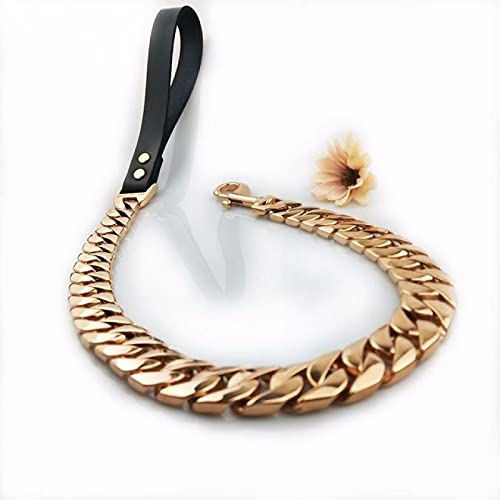 IANSISI Collar para Mascotas Reforzado con Oro Bully Collar de Perro Grande Correa Personalizada Acero Inoxidable 32mm Bulldog Potente Collar