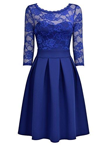 Miusol Cocktailkleid Spitzen 3/4 Arm Vintage Kleid Brautjungfer 50er Jahr Abendkleid Hellblau - 5