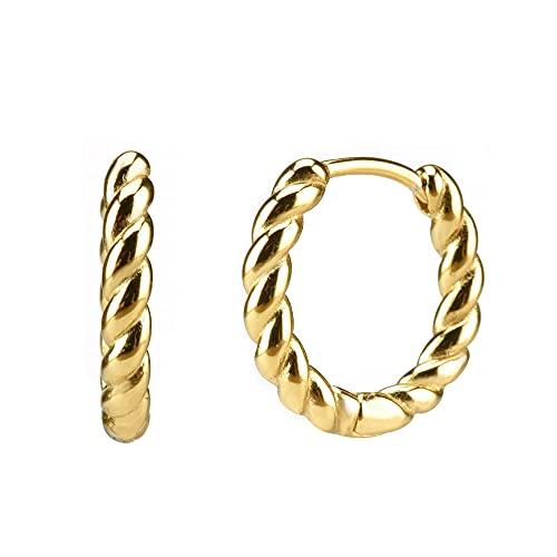 Pendientes Mujer Plata De Ley 925 10Mm Tornillo Huggies Aros Medios Bucles De Mujer Pendiente Redondo Joyería Boda Oro