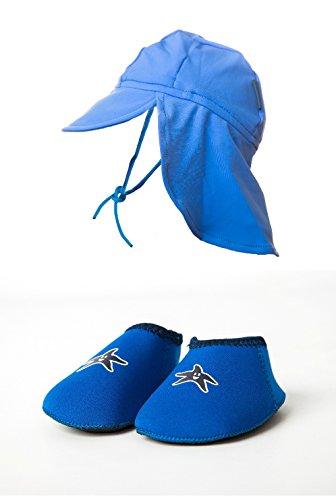 Baby Shore Feet Padder Chaussures et Chapeau de Soleil UV Bleu 0-2 ans M (12-18 mois))