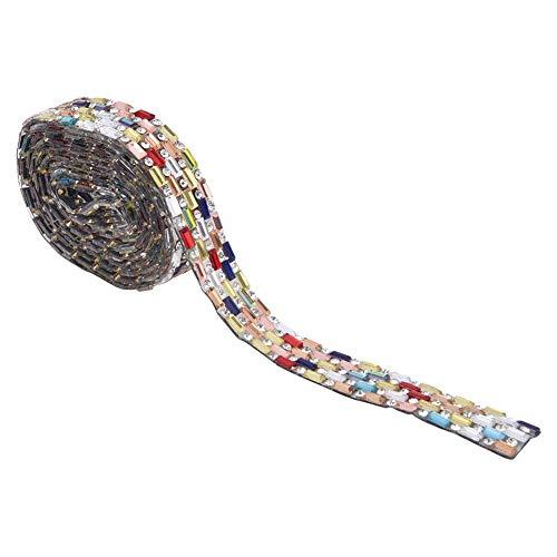 HEEPDD Cadena de Diamantes de imitación de Cristal, Coser en Cadena de Diamantes de imitación Cadena de Copa Cadena de Cierre de Diamantes de imitación de Cristal Colorido Cadena de Garra(Style A)