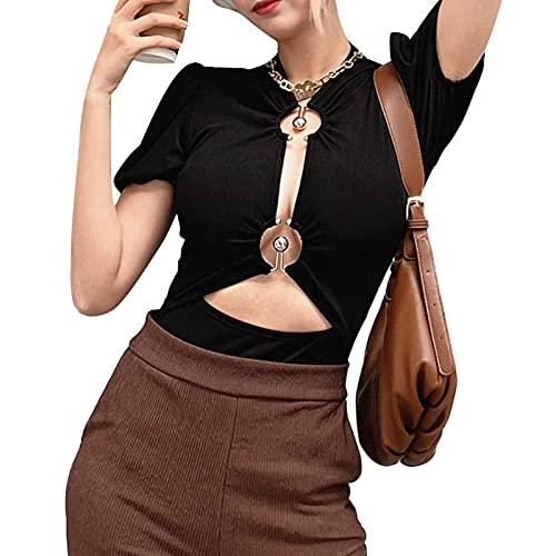 Kaenwang Body de manga abombada para mujer, con anillo en forma de O de metal, ajustado, maillot ahuecado, traje de una pieza
