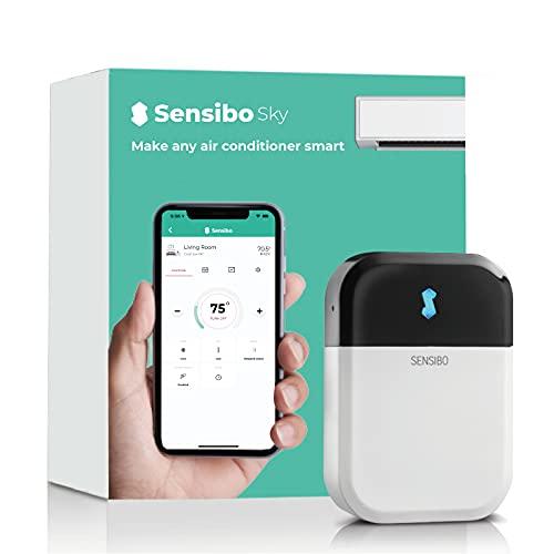 Sensibo Sky, système de climatiseur intelligent. Installé en 1 min. L'appli éco maintient le confort. Auto ON/OFF. Wifi-Google-Alexa-Siri. (Blanc)