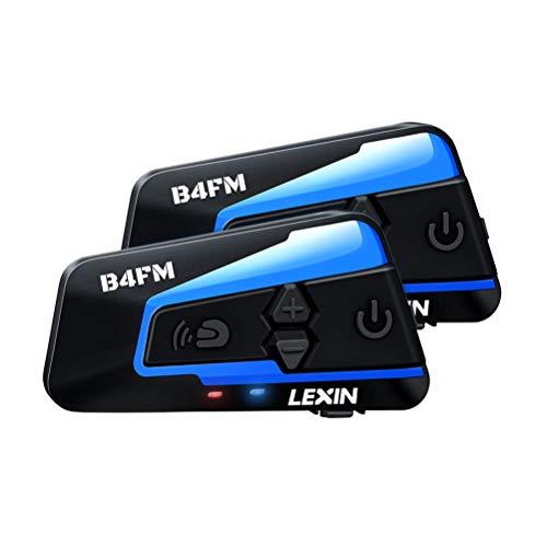 LEXIN Pro B4FM Auriculares Intercomunicador Moto Bluetooth, intercomunicador Casco Moto con FM, Comunicación Intercom cancelación de Ruido, Manos Libres para Moto ATV, comunicador Moto hasta 4 Jinetes