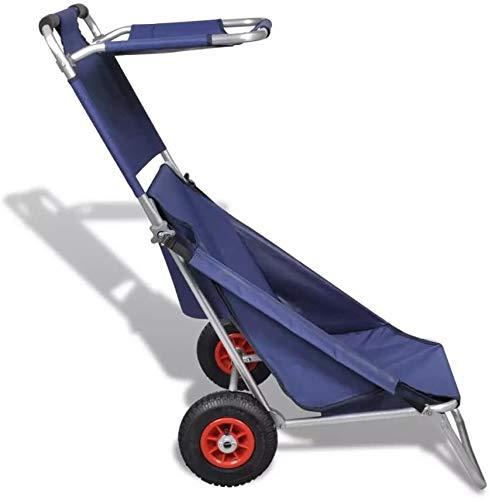 Wakects Carrello Mare, Carrello da Spiaggia Beach Cart Carrellino Porta con 2 Ruote, capacità Fino a 80 kg, 65 x 95 x 93 cm, Blu