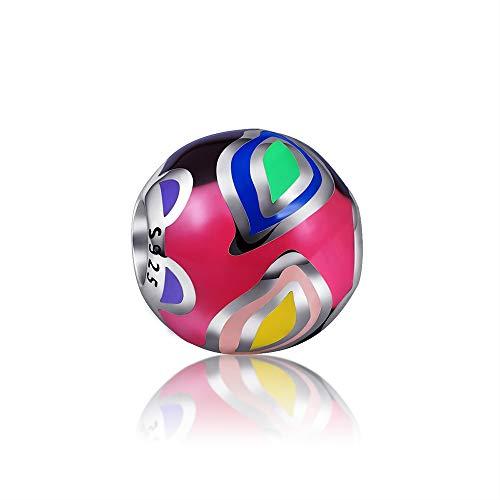 EVESCITY - Abalorios de Plata de Ley 925 para Pulseras de Abalorios, diseño artístico y Colorido, Mujeres