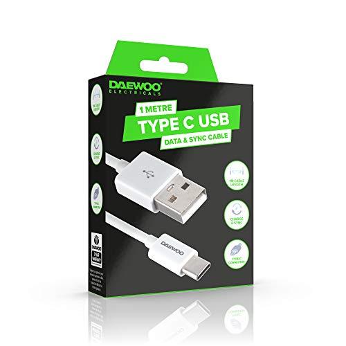 DAEWOO Cable de Carga USB Tipo C de 1 Metro para conexión de Fecha y sincronización, Nivel de Potencia 5V 1A, Uso con Adaptador Compatible