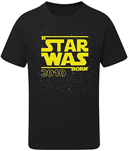 Geburtstags Shirt: Star Was Born 10 Jahre - T-Shirt für Jungen und Mädchen - Geschenk-Idee zm 10. Geburtstag - Junge - Jahrgang 2010 - zehn-ter - Lustig Cool Witzig - Kind-er - Trikot Pyjama (122/128)