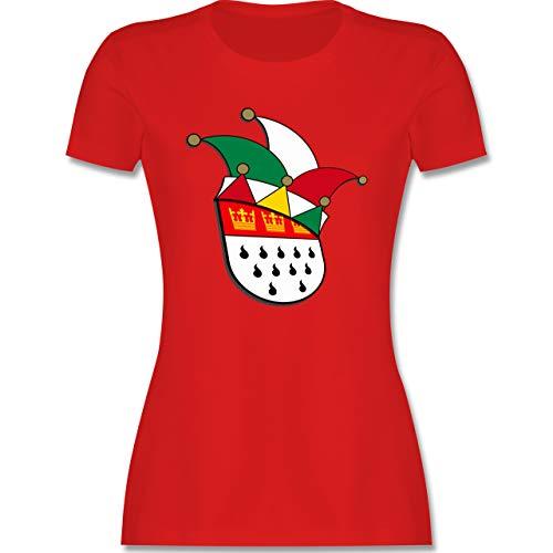 Karneval & Fasching - Köln Wappen Narrenkappe - L - Rot - köln Wappen - L191 - Tailliertes Tshirt für Damen und Frauen T-Shirt