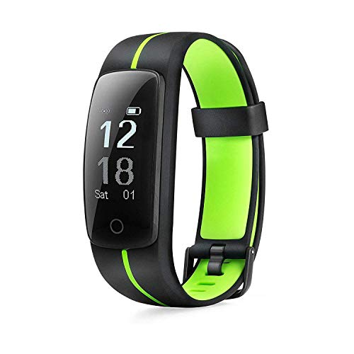 MICROTELLA Smart Fitness Tracker, Activity Watch Waterproof, Smart Band with Step Counter, Calorie Counter, Fit Bit Band, Fitness Tracker with Heart Rate Monitor for Android and iOS (Green/Black) Activity Features Fitness Sports Trackers