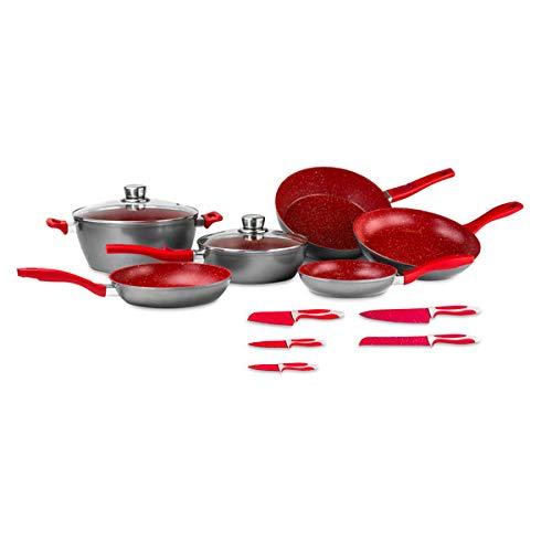 FlavorStone, Batería de Cocina Family Set, 1 Set de Cocina, Incluye: 5 Sartenes, 1 Cacerola, 2 Tapas de Vidrio Templado y 5 Cuchillos, Color Set Roj