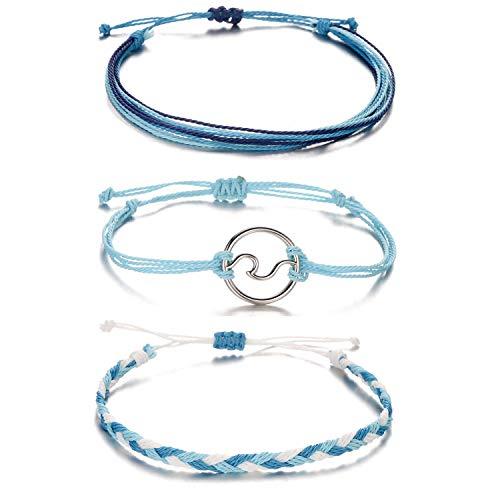 Softones VSCO String Wave Bracelets for Women Girls Handmade Colorful Waterproof Adjustable Braided Beach Bracelet Set for Women