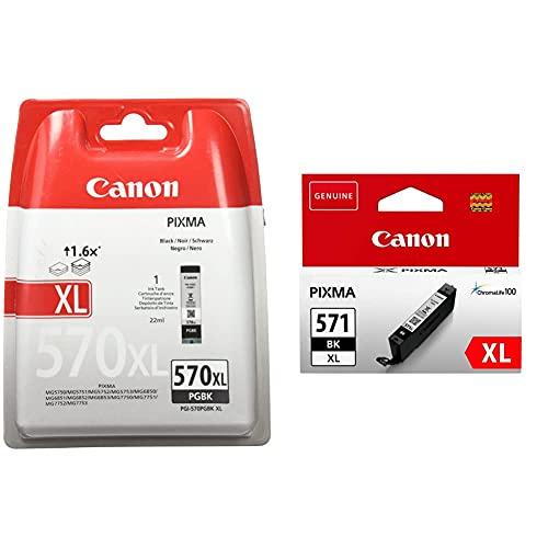Canon PGI-570XL Cartucho de Tinta BK para Impresora de Inyeccion Pixma + CLI-571XL Cartucho de Tinta BK XL para Impresora de Inyeccion Pixma