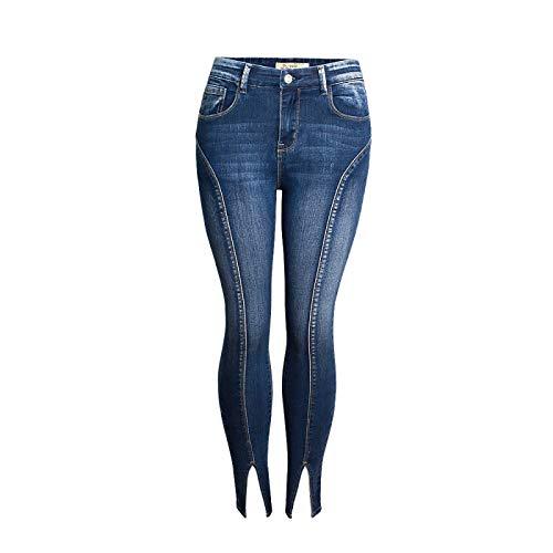 Pantalones Vaqueros de Verano para Mujer, Pantalones divididos con Personalidad elástica de Cintura Media a la Moda con Bolsillos, Pantalones Irregulares abotonados XX-Large