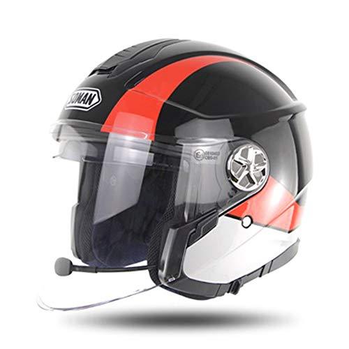Massage-AED Cascos De Motocross Adulto con Bluetooth Certificación ECE Cara Abierta, Chopper, Crucero, Motocicleta, Medio Casco, Casco Modular con Visera Solar para Hombres Adultos, Mujeres