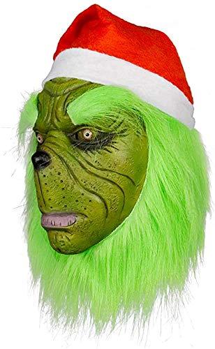 Máscara de monstruo con sombrero rojo para cosplay, divertida fiesta de carnaval de látex, disfraz de cabeza completa, verde