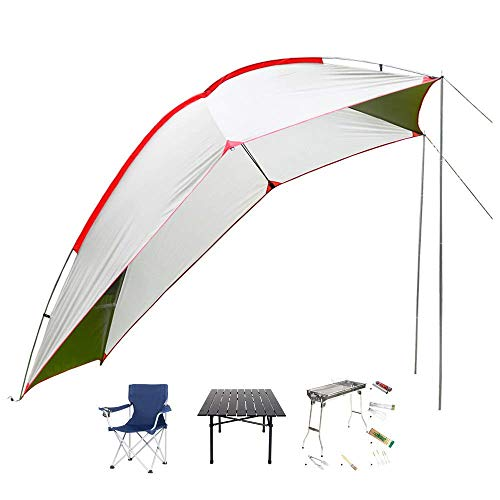 LLSS Car Awning Sun Shelter, SUV Tailgate Tent, Auto Canopy Camper Trailer Tent, 2 x Foldable Chairs + Folding Table + Barbecue Grill, Outdoor Travel BBQ Full Tools