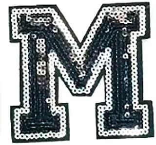 Black Sequins Letter Iron-on Patch Appliqué Sewing Alphabet Letter (A-Z) (M)