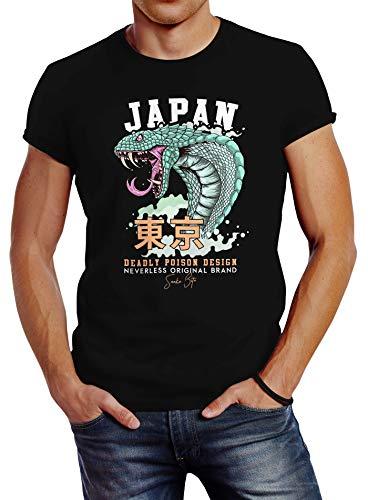 Neverless® Herren T-Shirt Japan Kobra Motiv japanische Schriftzeichen Schriftzug Deadly Poison Design Fashion Streetstyle schwarz L