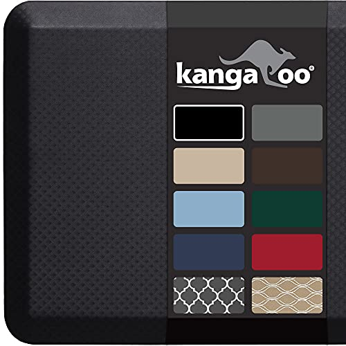 Kangaroo Anti Fatigue Cushioned Floor Mat, 3/4 Inch Thick Durable Standing Desk Pad, Padded Comfort Foam Mats for Kitchen, Office, Garage, Stain Resistant, 32x20, Black