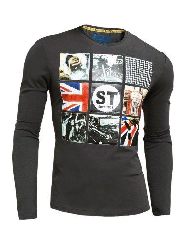 D&R Fashion Mens Long Sleeve Slim Tight FIT TOP Print Fitness Thin XL XXL Dark Grey