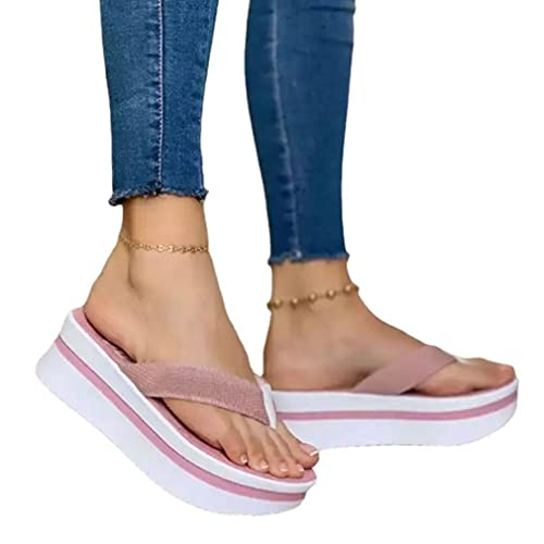 Sandalias Acolchadas De Espiga Acolchadas Casuales De Las Mujeres Europeas Y Americanas del Tamaño Extra Grande del Verano 2021 Rosa