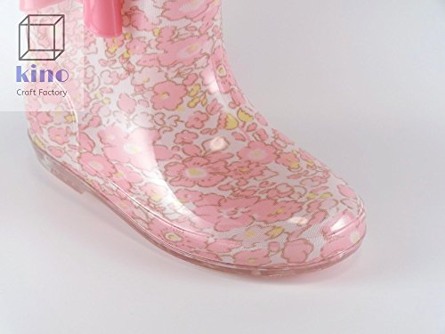 子供用 レインブーツ ピンクの花柄 リボン キッズ 女の子 雨靴 長靴 25 16cm