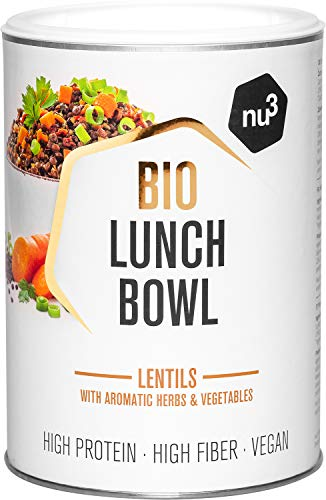 nu3 Bio Lunch Bowl Linse 400g - Gesundes Fertiggericht mit Aromatischen Kräutern und Gemüse - Schnelles Fertiggericht für die Arbeit und Zwischendurch - Vegan, Gluten- und Laktosefrei – Bio-Zutaten