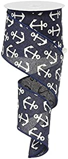 Anchor Blue White Wired Ribbon 2.5