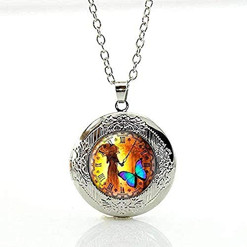 BACKZY MXJP Collar Encantos Tarot Card Colgante Collar Cinta Joyas Reloj Steampunk Engranajes Art Photo Glass Cabochon Locket Jewelry