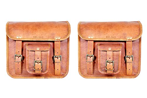 Handmade Motorcycle Side Pouch Brown Leather Side Pouch Saddlebags Saddle Panniers Set of 2 Bag