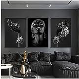Póster artístico de pared grande de mujer africana, gran mujer negra, joyería de plata, lienzo, pintura, impresiones en la pared, decoración del hogar