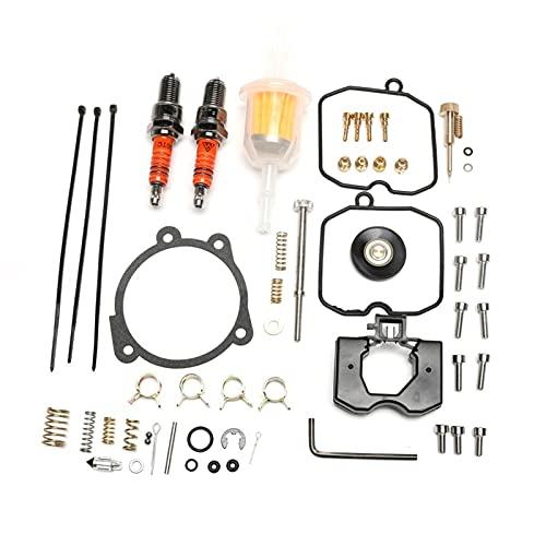 Zcxiong Kit de reconstrucción Ajuste para Harley Fit para Davidson Fit para Keihin Fit for CV Carbureor 1990-2018 con tornillo de ralentí Buje de chispas Filtro de combustible Jet de bajo rango 27006-