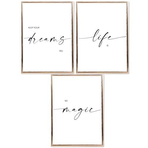 SIMPLY SIMON Juego de pósteres con frases – Elegante decoración moderna con citas – imágenes en blanco y negro con impresiones artísticas para salón y dormitorio – SET03 Dreams DIN A4
