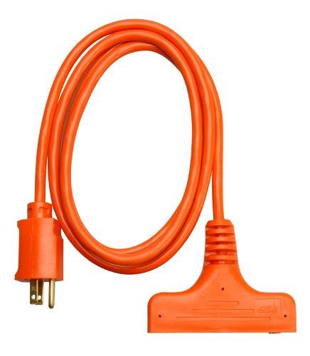 Coleman Cable 04004 14/3-Wire Gauge 6-Feet SJTW Tri-Source Extension Cord (Orange)
