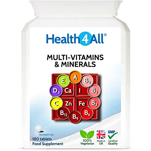 Multi-Vitamins & Minerals One a Day 180 Tablets 100% RDA. Made by Health4All