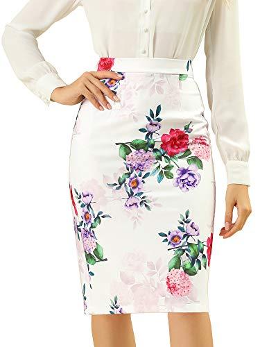 Allegra K Women's Floral Elastic Waistband Bodycon Pencil Skirt with Back Slit Large White