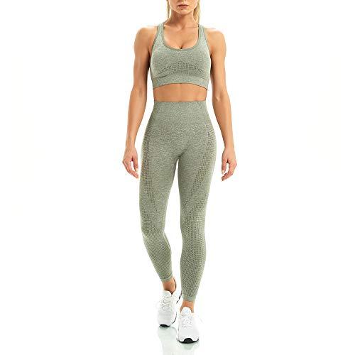 WodoWei Women 2 Piece Workout Outfits Sports Bra Seamless Leggings Yoga Gym Activewear Set (YO601-khaki grey marl-L)