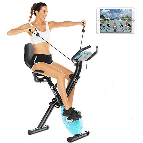 ANCHEER 3-in-1 Heimtrainer Fahrrad,klappbarer Heimtrainer mit App Anbindung,LCD-Display,10 verstellbare Widerstandsstufen und Herzmonitor - Perfektes Heimtrainingsgerät für Cardio