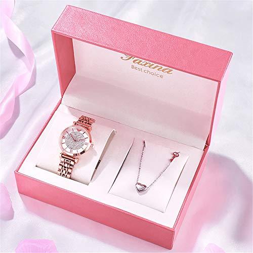 YIBOKANG 2 Piezas De Conjunto De Regalos De Día De San Valentín All Day Star Watch Reloj De Cumpleaños Regalo De Cumpleaños Colgante Colgante Collar Conjunto (Color : 2)