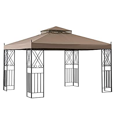 Sunjoy A101012100 Shawn 10 x 12 ft. Steel Gazebo with 2-Tier Canopy, Khaki
