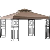 Sunjoy Belleville 10 x 12 ft. Steel Gazebo with 2-tier Khaki Canopy