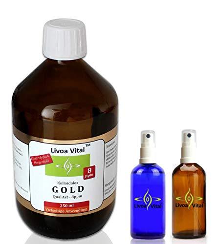 Kolloidales Gold 8ppm/250ml - Mit Gratis Spray Sprühflasche - Beste Qualität Durch Spezielles Verfahren - Höchstmögliche Reinheitsstufe von 99,99% - Fürs geistige und körperliche Wohlbefinden - Beruhigt Psyche und Nerven