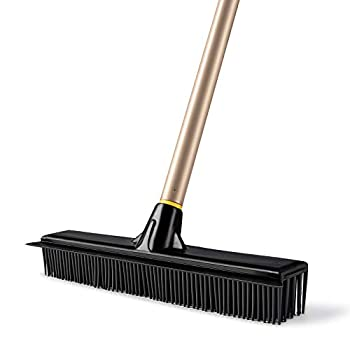 Yocada Rubber Broom Pet Hair Fur Removal Broom Soft Bristle Push Broom with Squeegee Telescoping Pole 42-53 Inch for Sweeping Hardwood Floor Tile Bathroom Living Room Kitchen